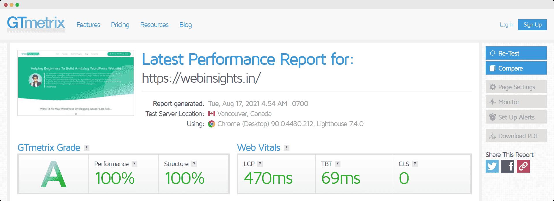 Web Insights Report